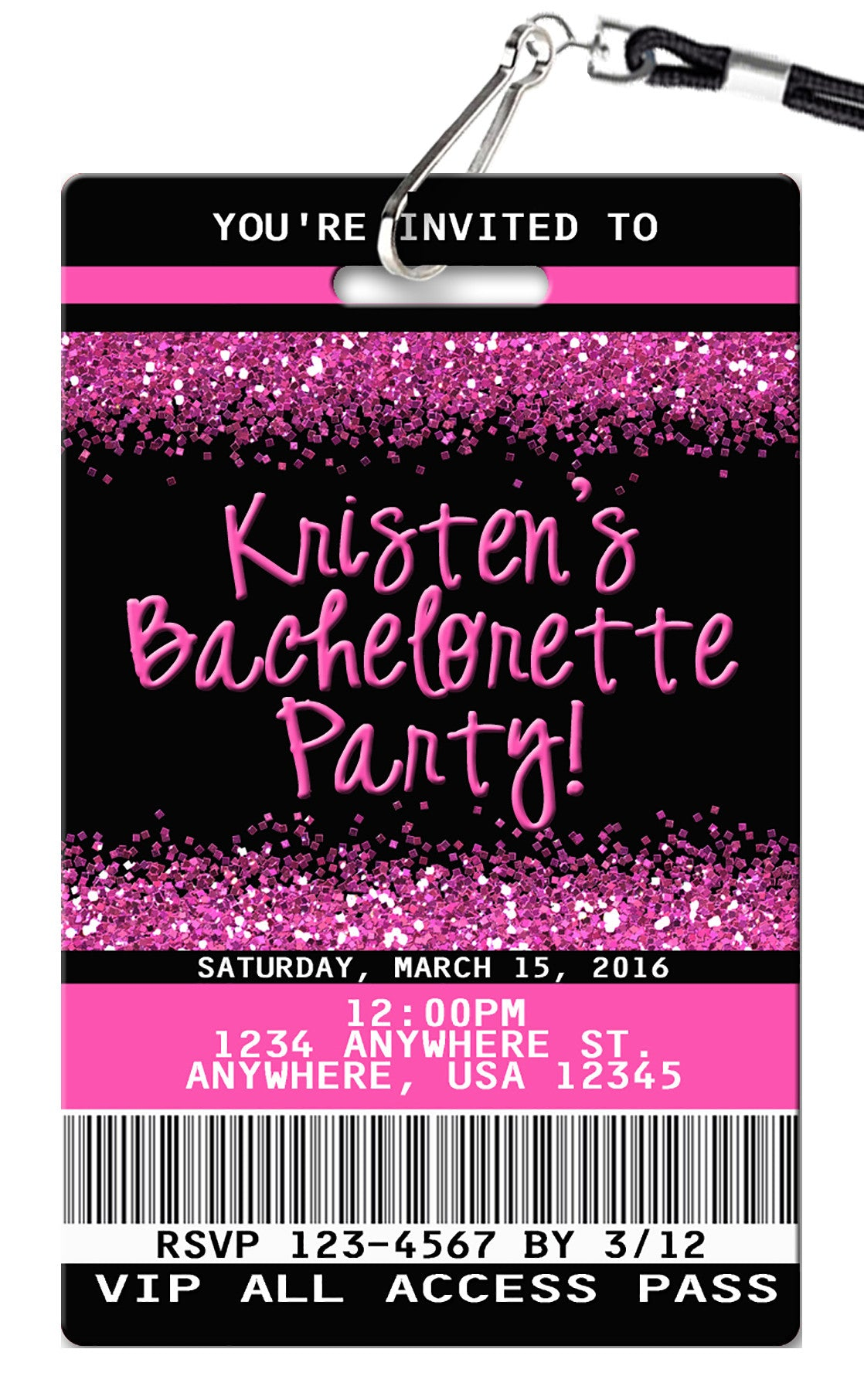 bachelorette party invitation pvc invites vip birthday invitations