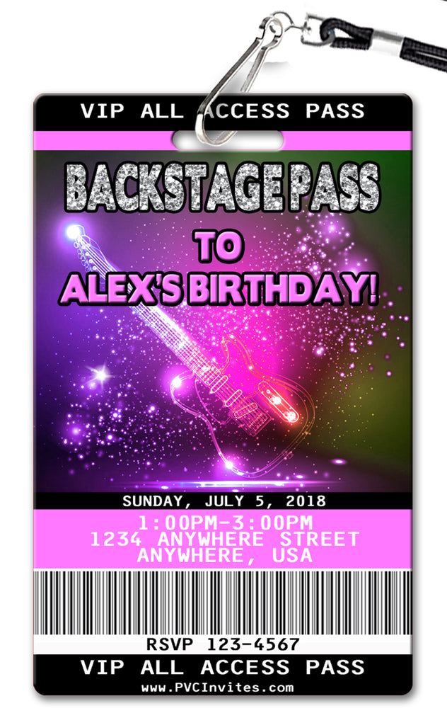 Backstage Pass Birthday Invitation