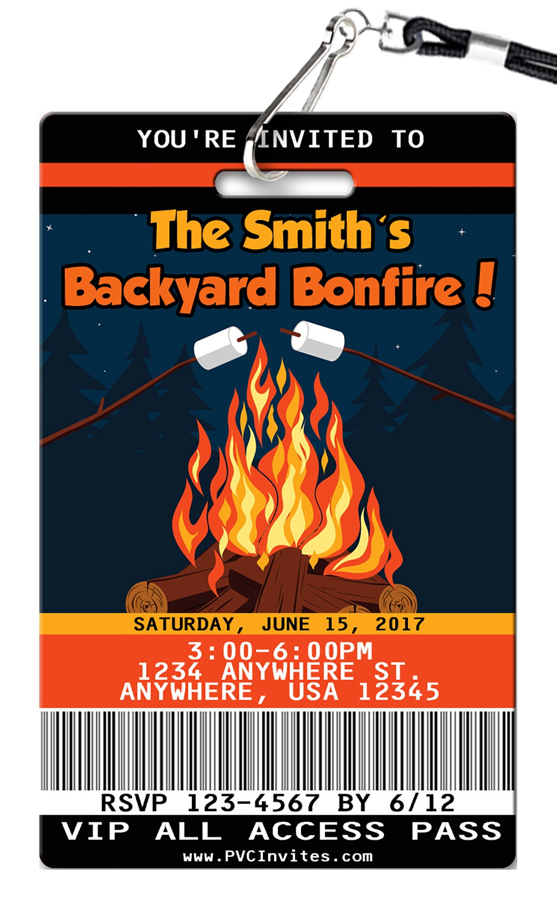 Backyard Bonfire Birthday Invitation Pvc Invites Vip Birthday