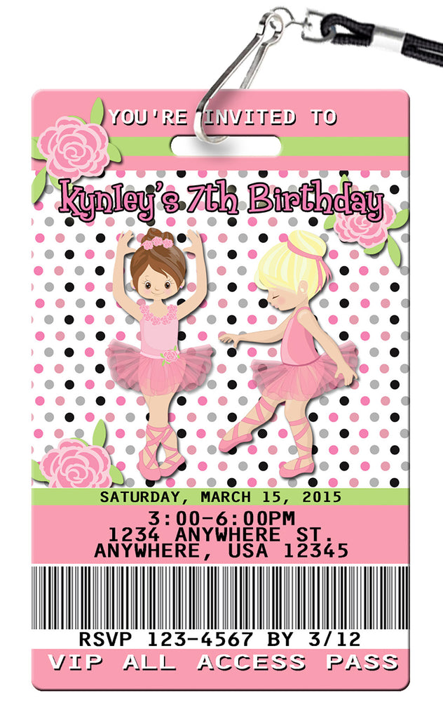 Ballet Birthday Invitations