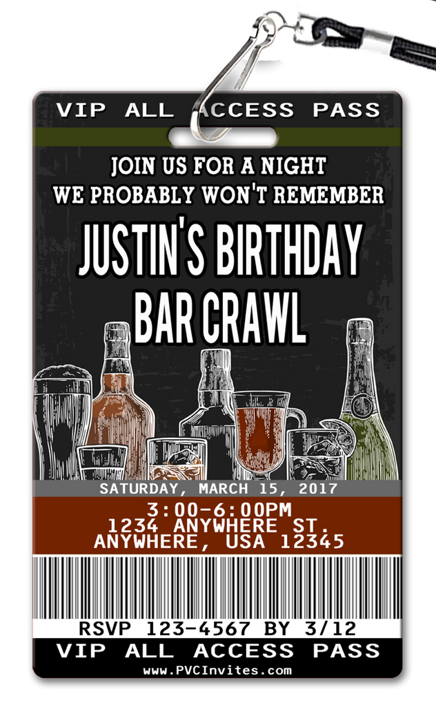 Bar Crawl Birthday Invitation