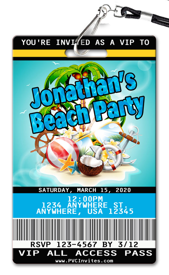 Beach Party Birthday Invitation