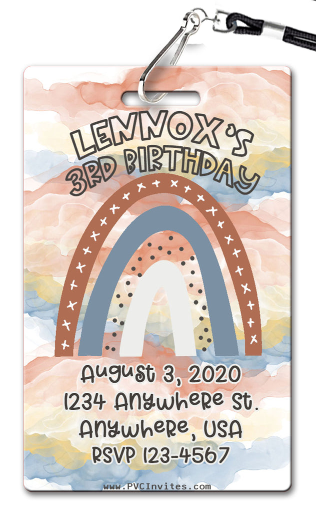 Boho Rainbow Birthday Invitation