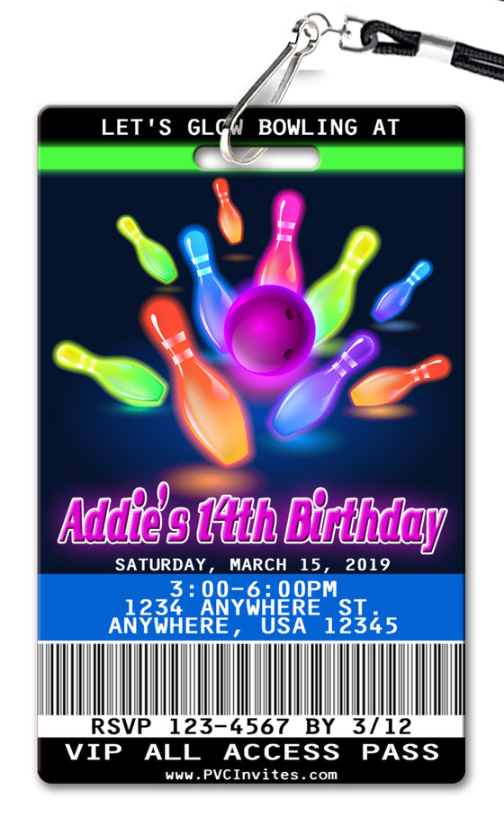 Bowling Glow Birthday Invitation