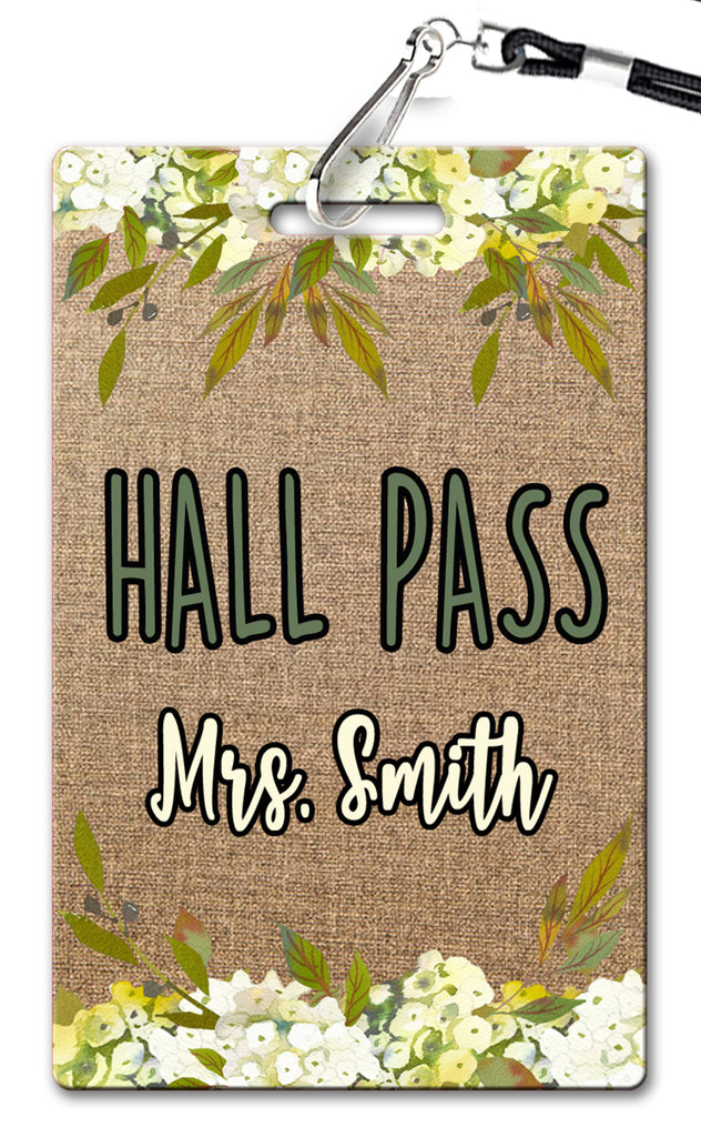 Burlap and Flowers Hall Passes (Set of 10)