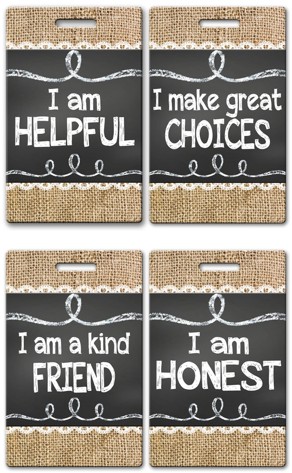 Burlap and Chalk Theme Brag Tags (Set of 8)