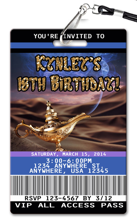 Genie Lamp Birthday Invitation