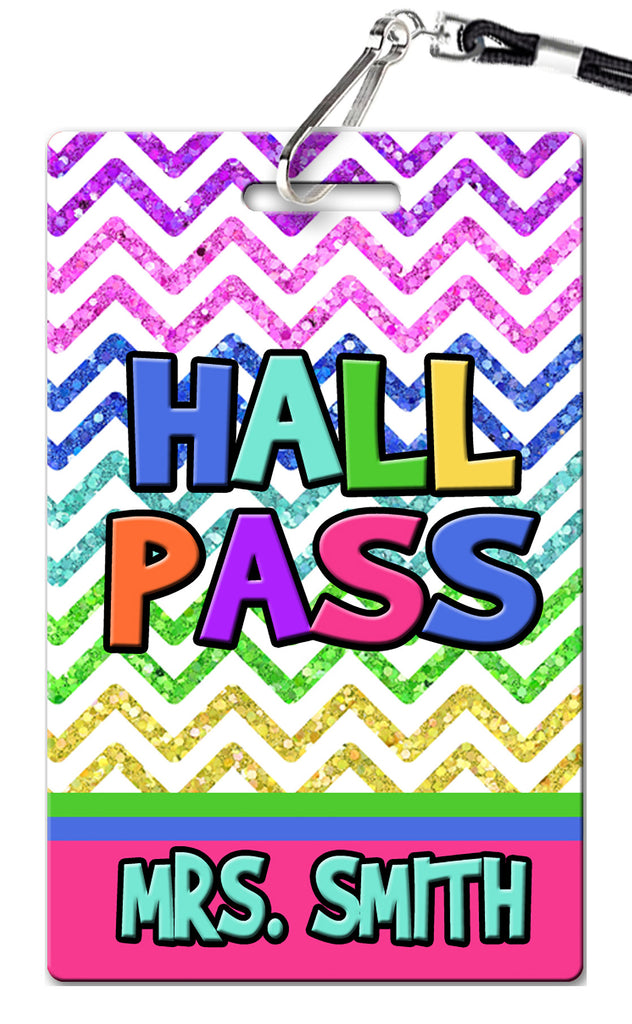 Glitter Chevron Theme Hall Passes (Set of 10)