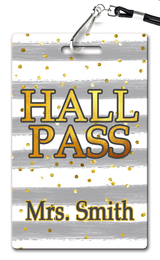 Grey Stripes Hall Passes (Set of 10)