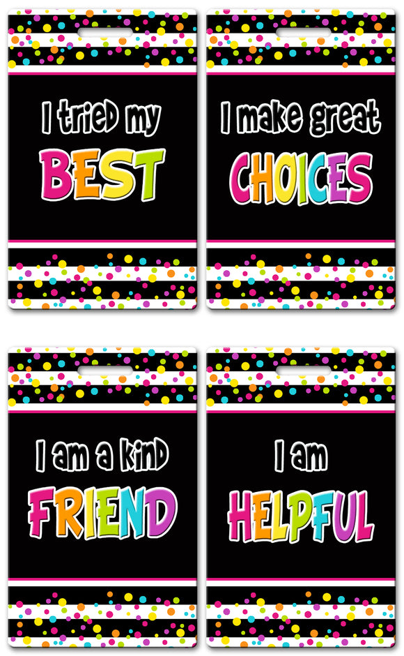 Neon Dots Theme Brag Tags (Set of 8)
