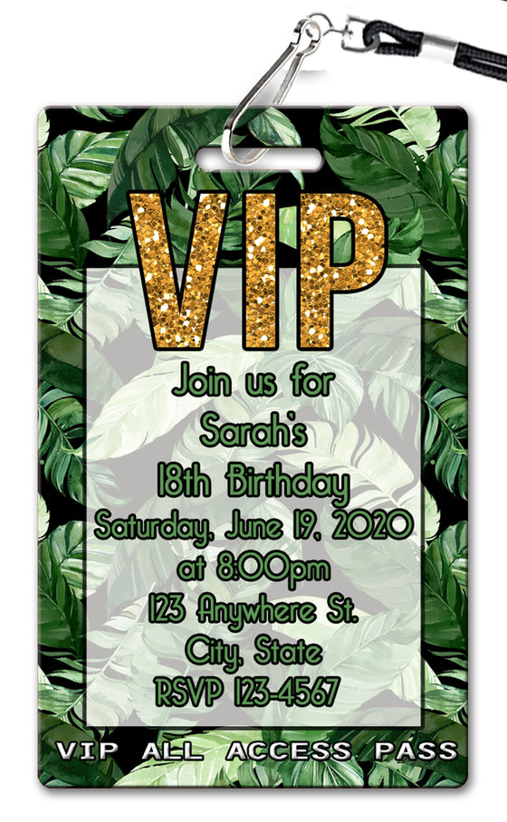 Palm Leaf Black Birthday Invitation