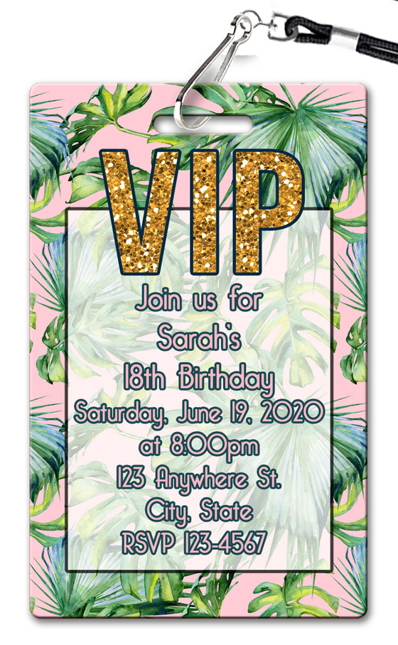 Palm Leaves Birthday Invitation