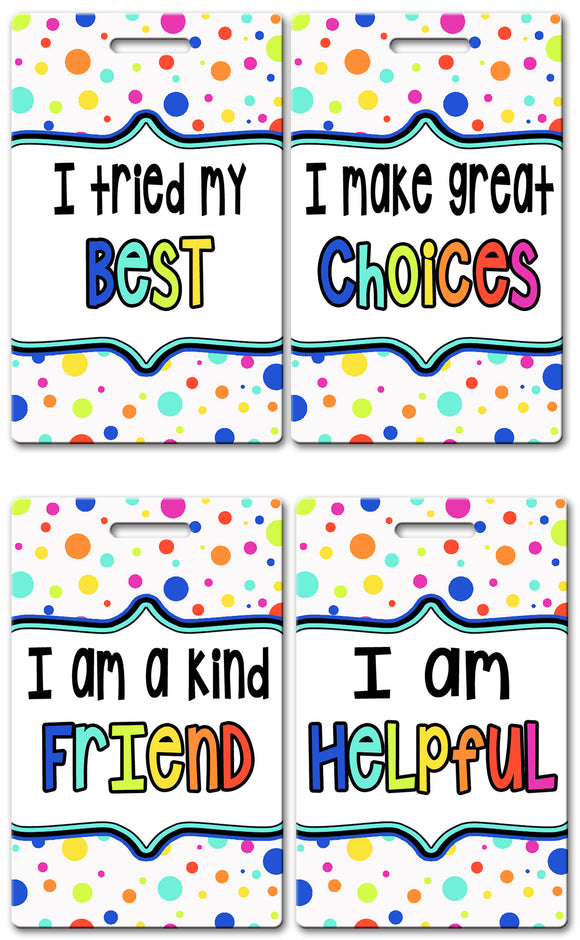 Polka Dot Theme Brag Tags (Set of 8)