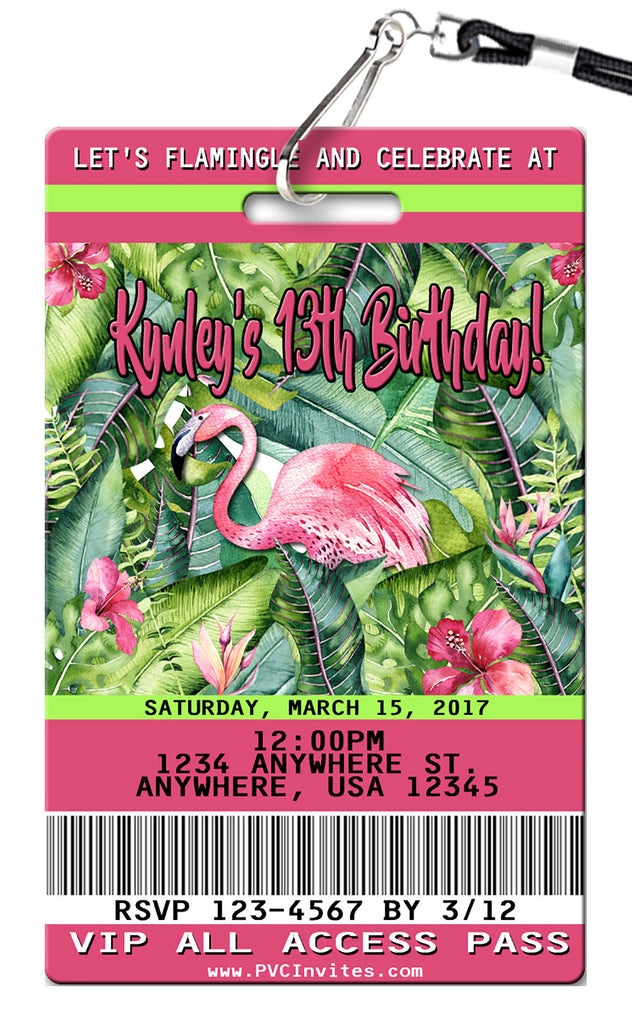 Flamingo Birthday Invitations