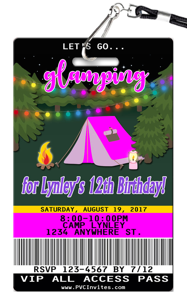 Glamping Birthday Invitation