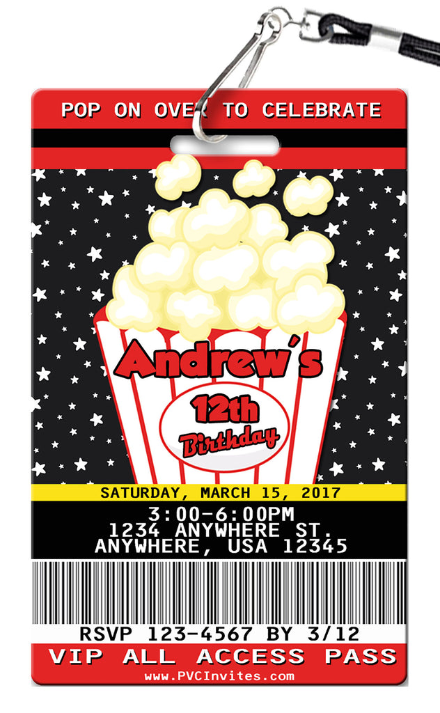 Popcorn Birthday Invitation