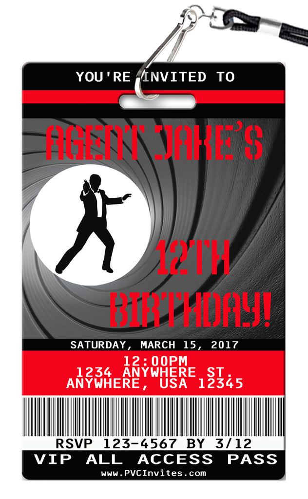 Secret Agent Birthday Invitations