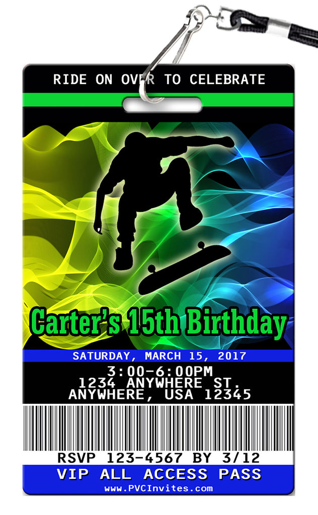 Skateboard Birthday Invitations