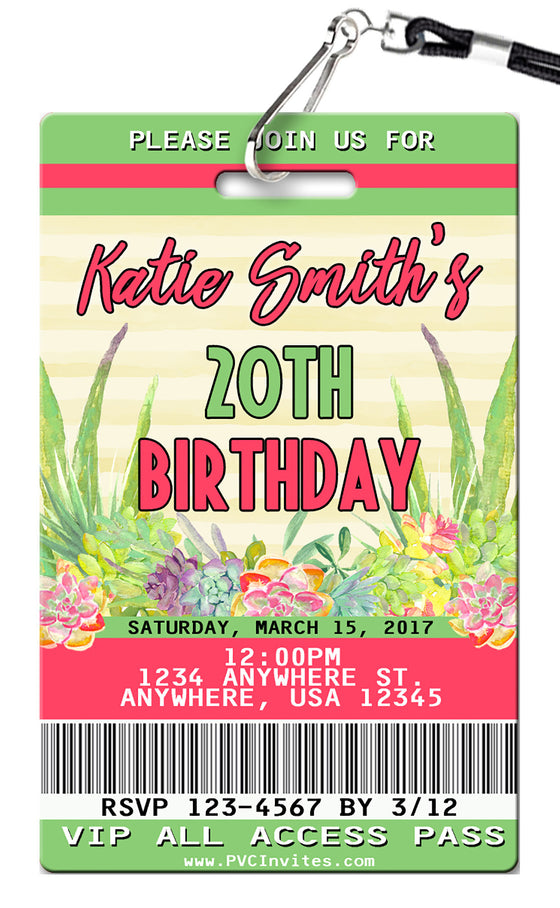 Succulents Birthday Invitations