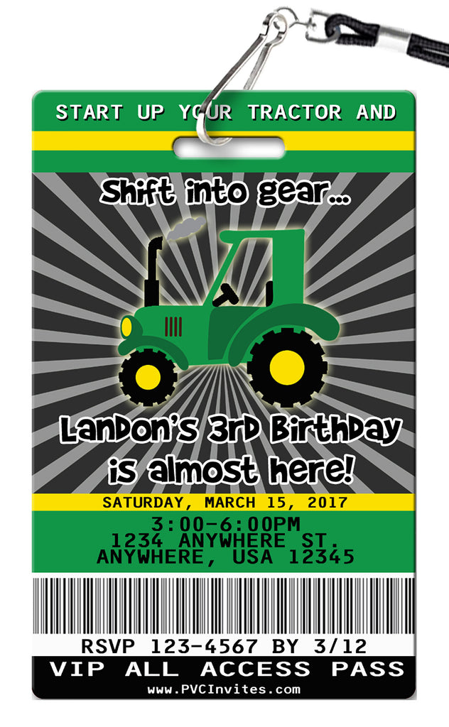 Tractor Birthday Invitations