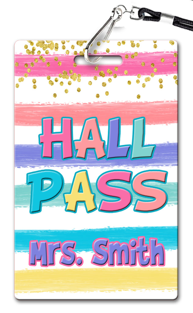 Rainbow Stripes Hall Passes (Set of 10)