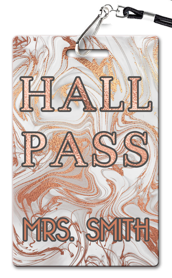 Rose Gold Marble Hall Passes (Set of 10)