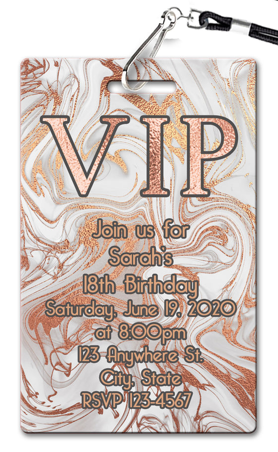 Rose Gold Marble Birthday Invitation
