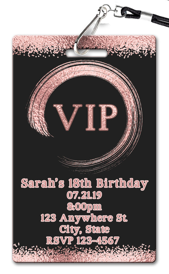 Rose Gold VIP Pass Birthday Invitation
