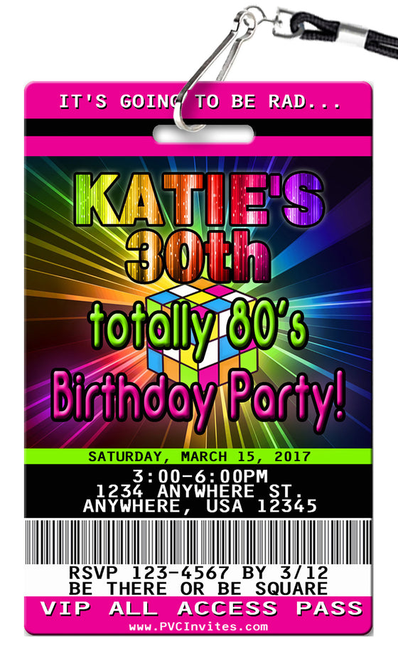 1980's Birthday Invitation