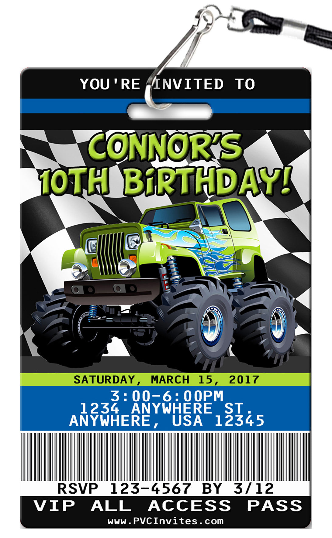 Monster Truck Birthday Invitation - PVC Invites - VIP Birthday ...