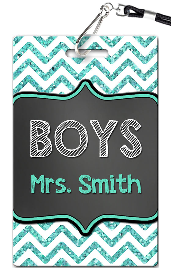Teal Chevron Theme Hall Passes (Set of 10)