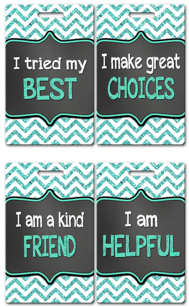 Teal Chevron Theme Brag Tags (Set of 8)