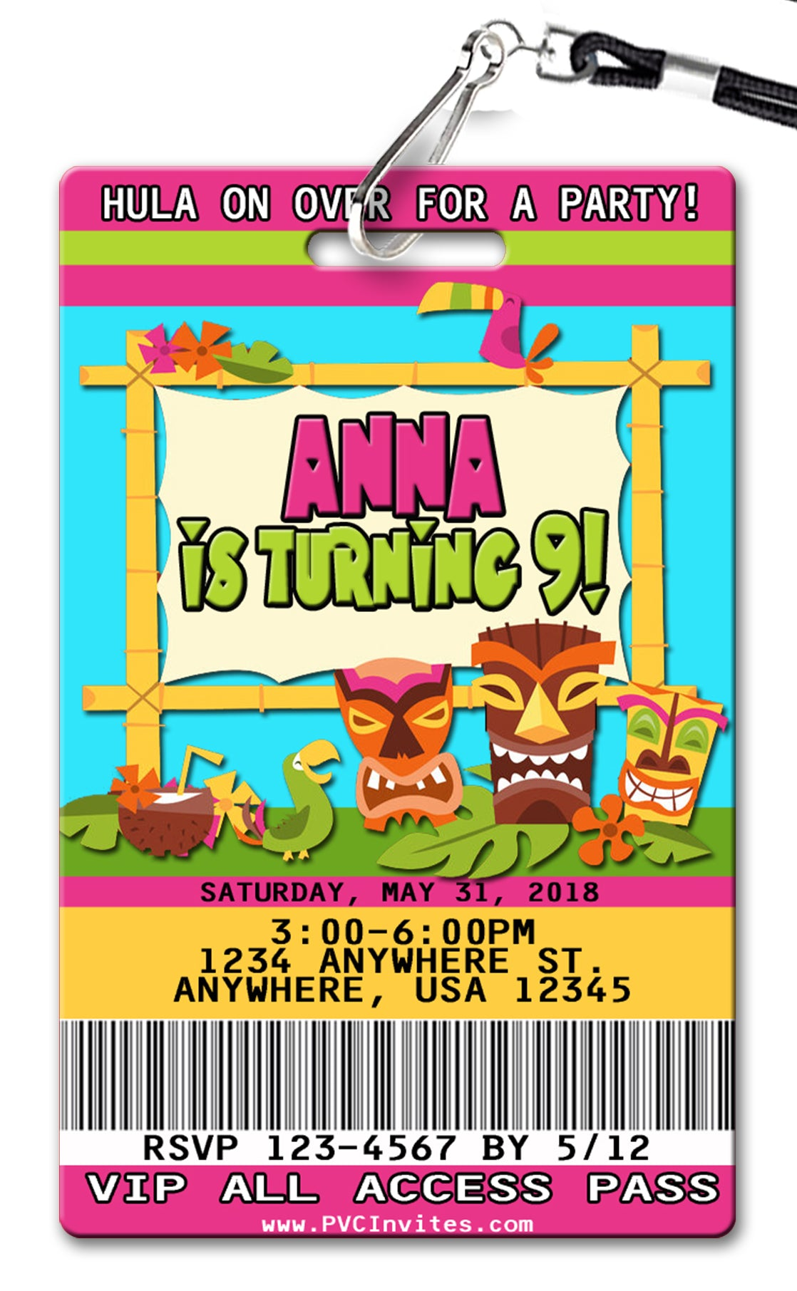 Hawaiian Luau Birthday Invitations Pvc Invites Vip Birthday