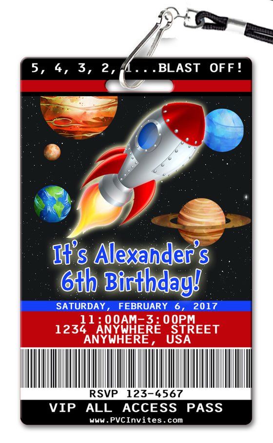 Blast Off Birthday Invitation
