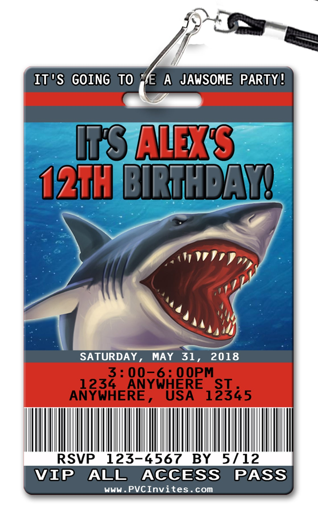Shark birthday invitations pvc invites vip birthday invitations shark birthday invitation filmwisefo