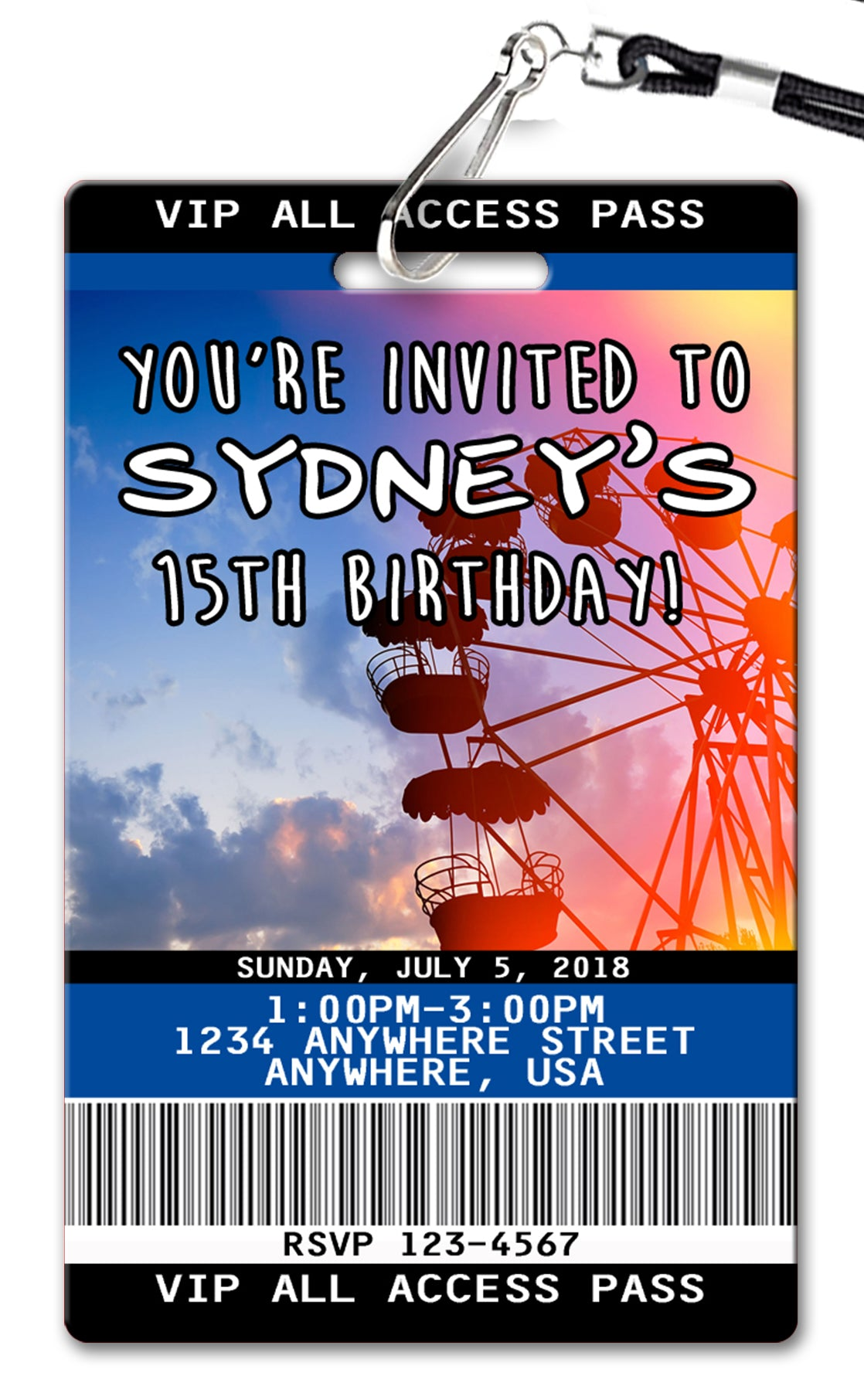 Coachella Birthday Invitations Pvc Invites Vip Birthday Invitations