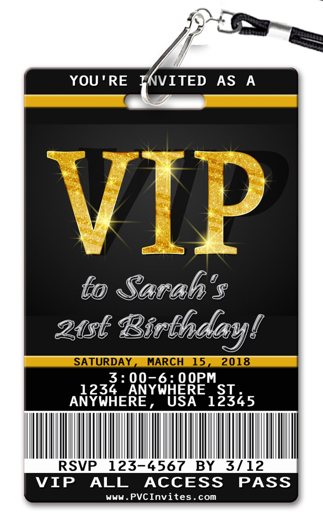 Vip Pass Birthday Invitation Pvc Invites Vip Birthday Invitations