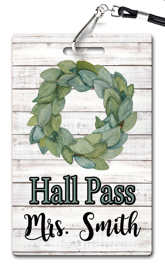 Magnolia Wreath Theme Hall Passes (Set of 10)