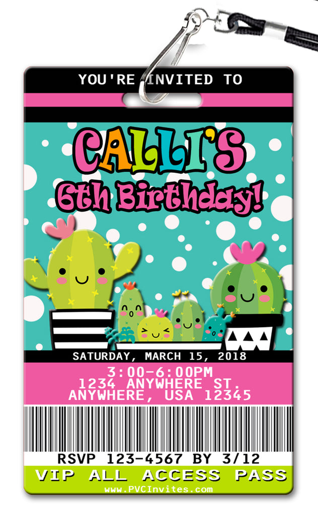 Cactus Birthday Invitation