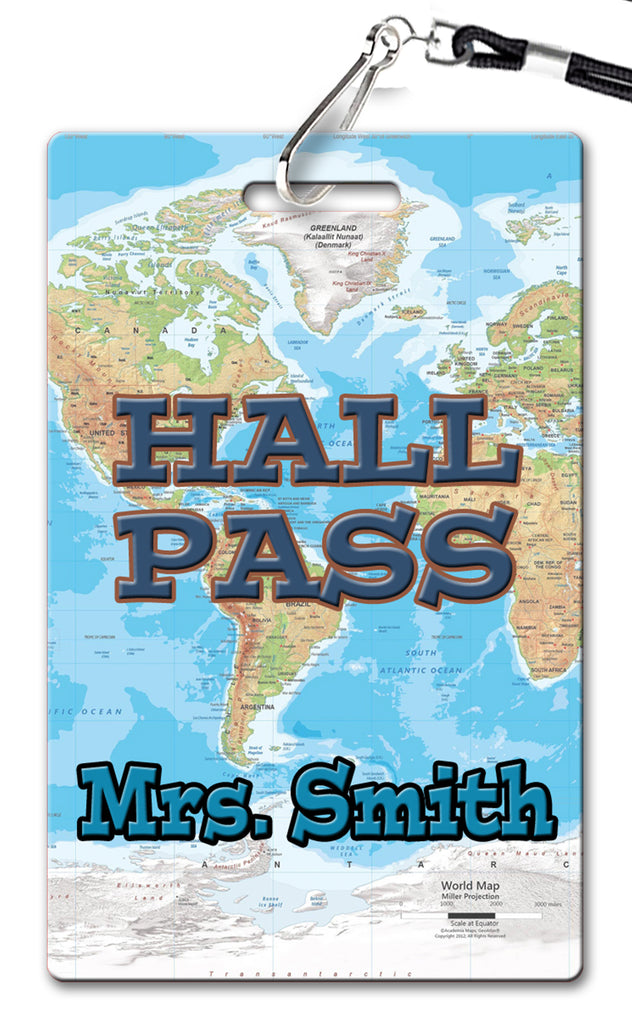 World Map Theme Hall Passes (Set of 10)