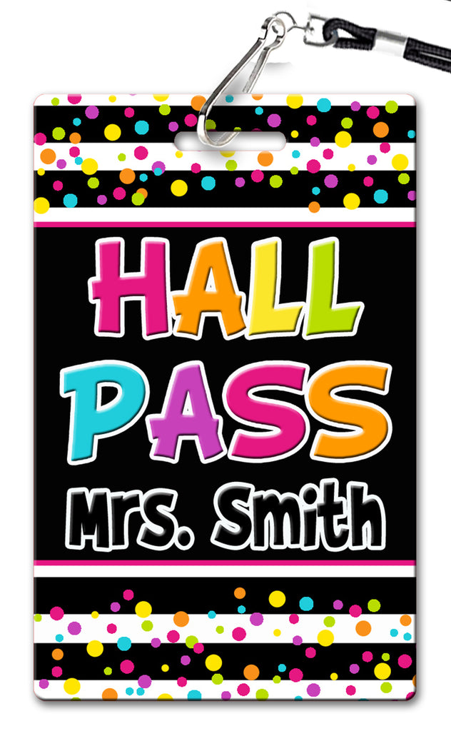 Neon Dots Theme Hall Passes (Set of 10)