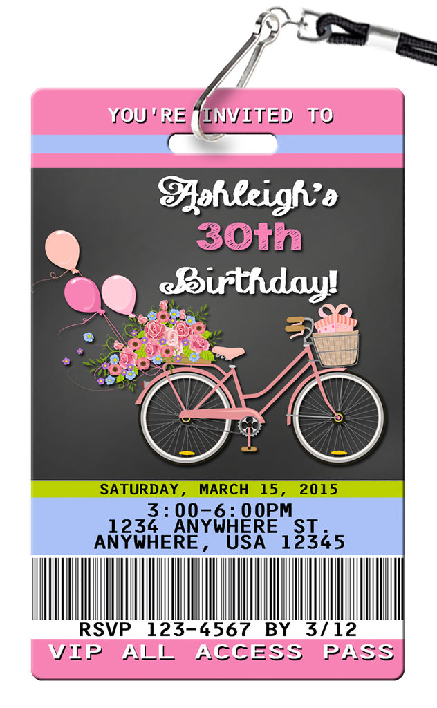 Bicycle Birthday Invitation
