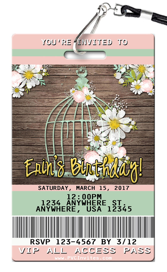 Birdcage Birthday Invitation