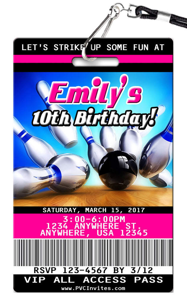 Bowling Pink Birthday Invitations