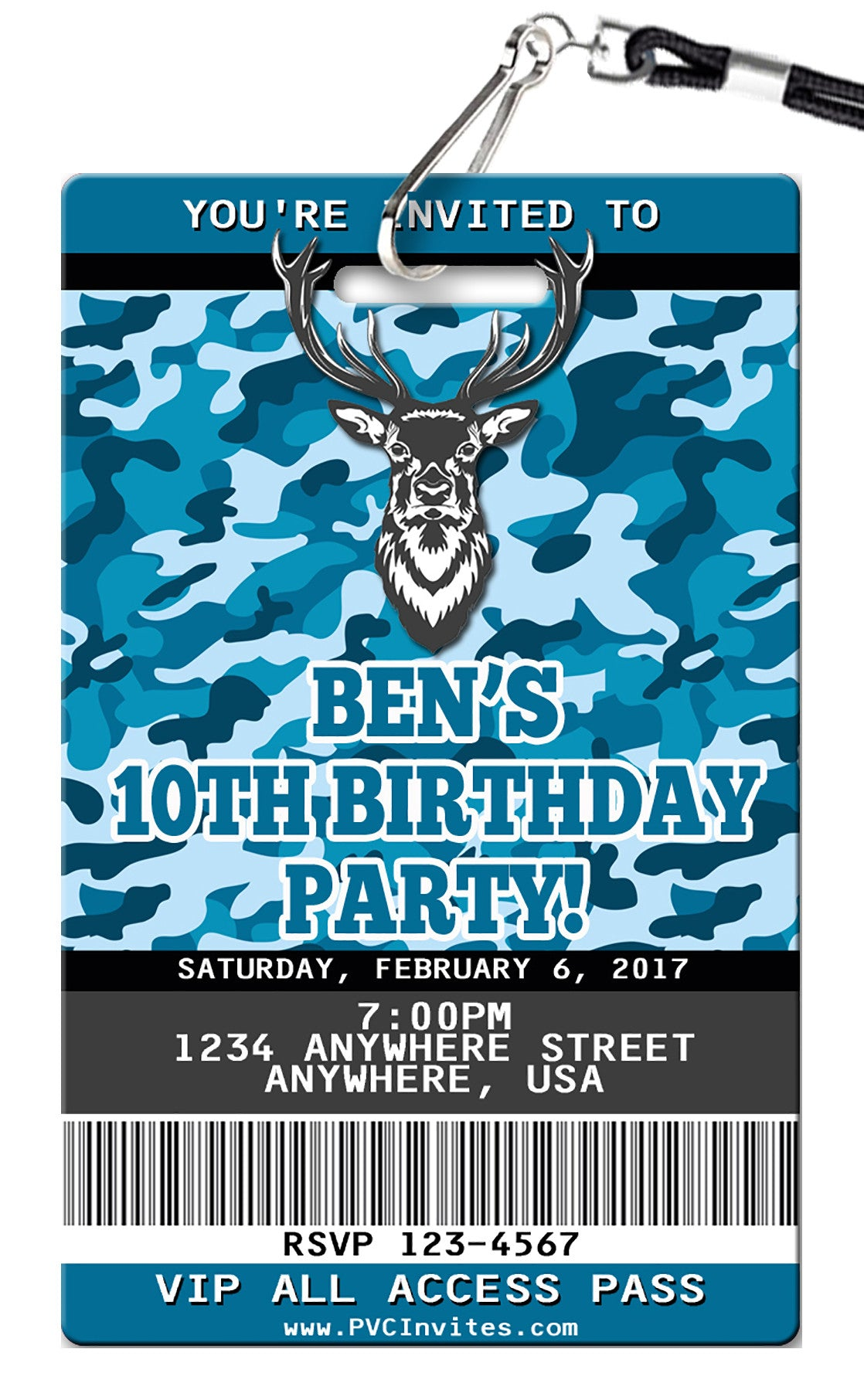 Camo Blue Birthday Invitation