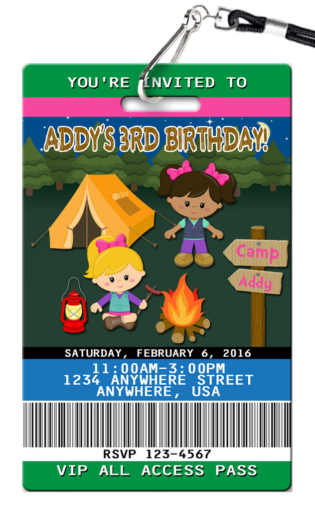 Camping Girl Birthday Invitation
