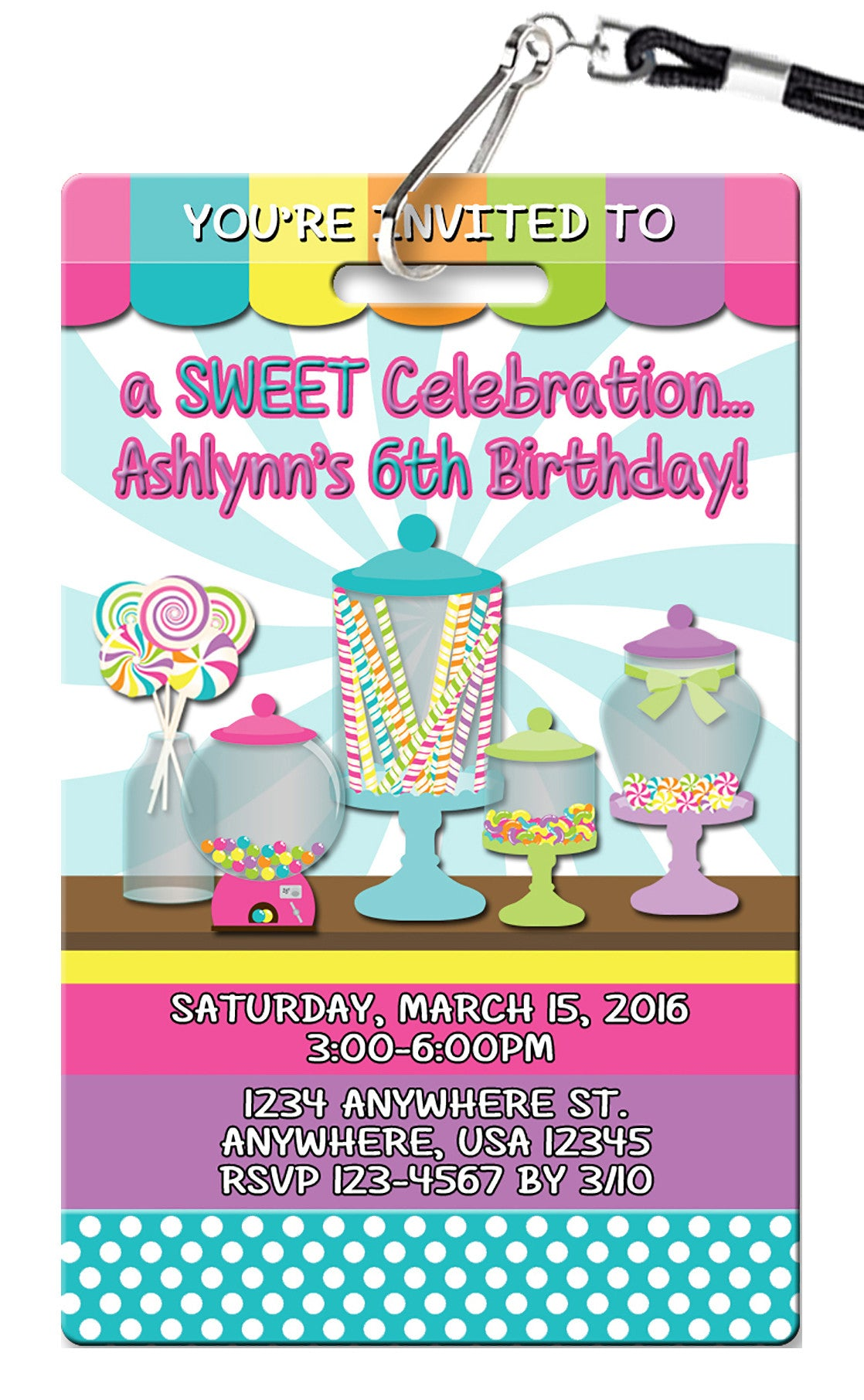 Candy Buffet Birthday Invitation