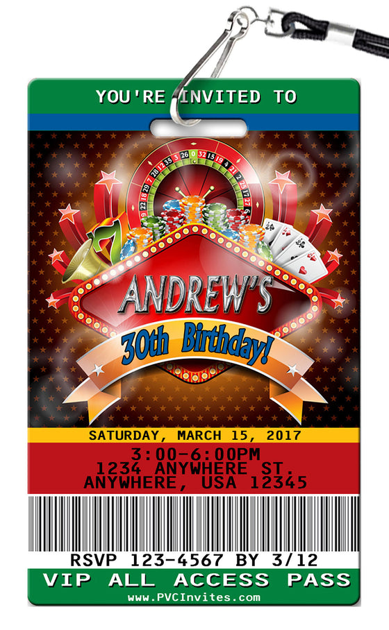 Casino Birthday Invitations