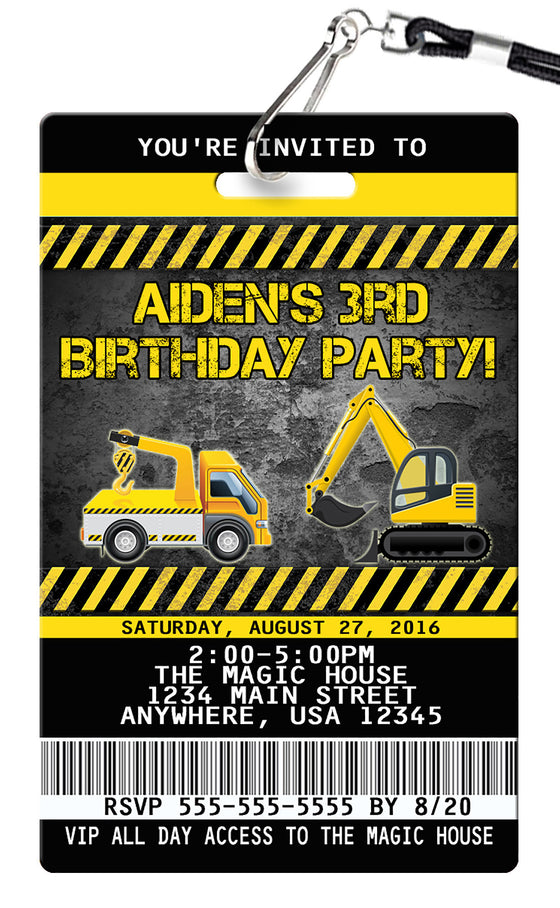 Construction Birthday Invitations