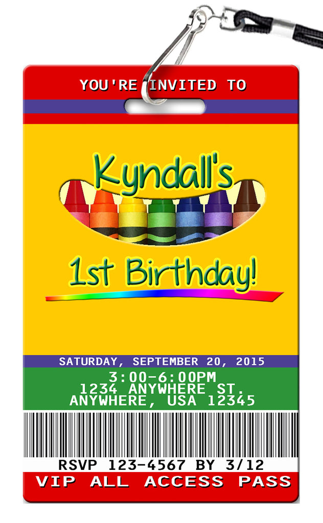 Crayon Birthday Invitation